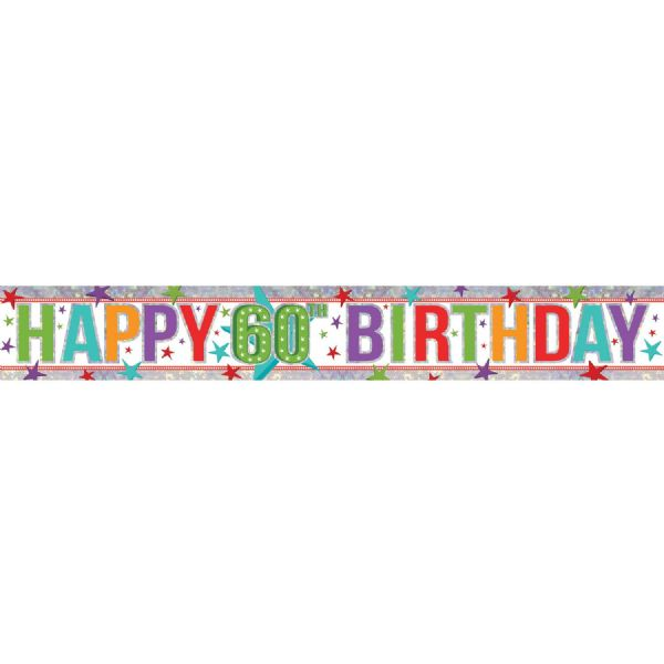 Holographic Multi Colour Happy 60th Birthday Foil Banner